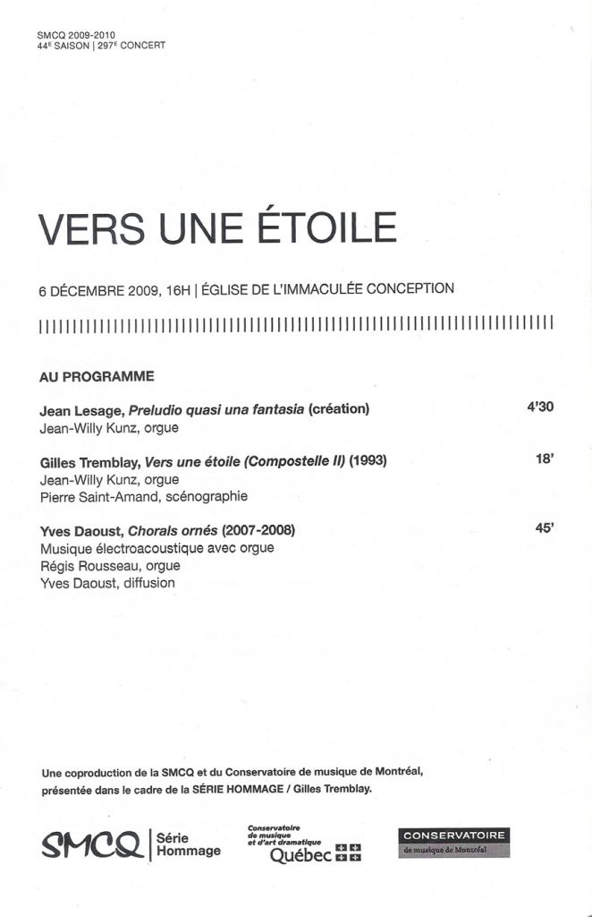 Figure 10: SMCQ, Programme de concert, 6 décembre 2009, 1re de couverture, 14 cm x 21,5 cm.