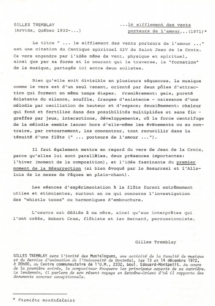 Figure 11: SCMQ, Programme du 47e concert, 7 décembre 1972, p. 6, 14 cm x 21,5 cm.