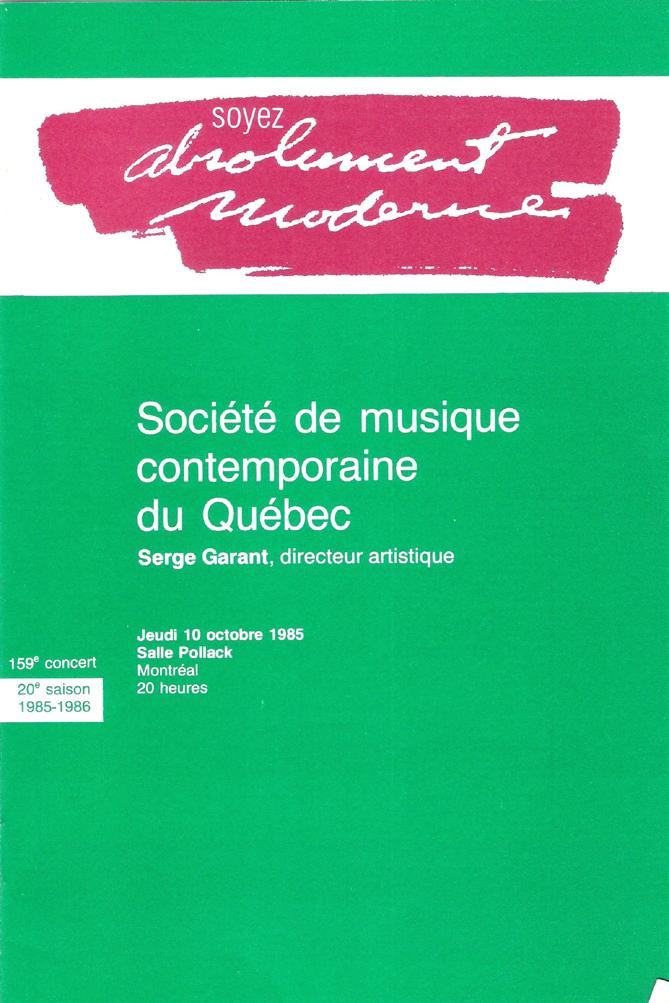 Figure 6: SMCQ, Programme du 159e concert, 10 octobre 1985, 1re de couverture, 13,7 cm x 20,4 cm.