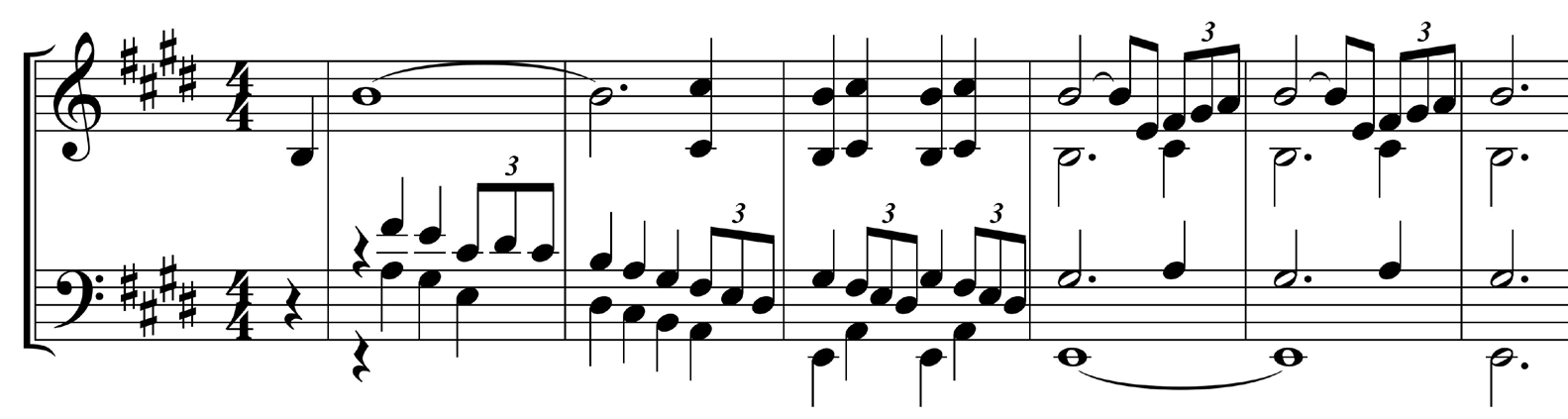 Figure 1 : A Dangerous Method, thème de l'Idylle (mesures 1 à 6), piano – transcription.