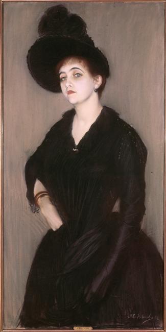 Figure 10 : Portrait de Marie-Blanche Vasnier par Jacques Emile Blanche. 1888. Pastel sur carton. 130 x 66 cm. Paris, Petit Palais, musée des Beaux-Arts de la Ville de Paris.