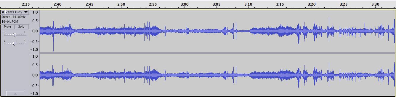 Figure 1 : Représentation de l'intensité du signal de 2'37 à 3'33 à partir du début de la scène.