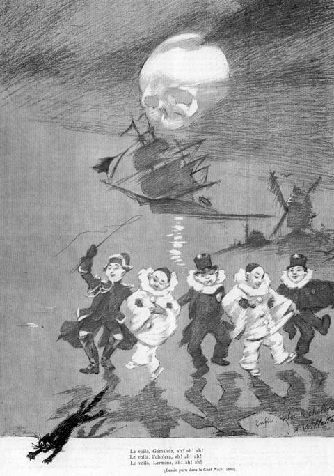 Figure 2 : Adolphe Willette, « Enfin, voilà le choléra », paru dans Le Chat Noir en 1882.