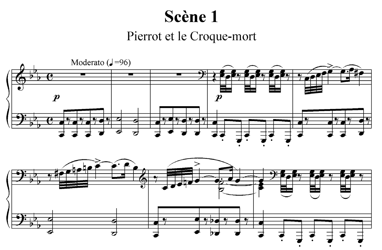 Figure 4 : Paul Vidal, Pierrot assassin de sa femme, début de la 1re scène : « Au clair de la lune ».