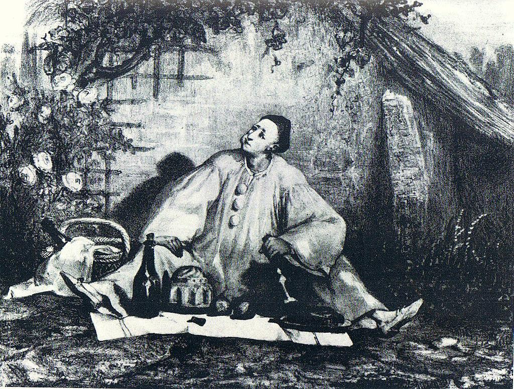 Figure 6 : Auguste Bouquet, Le Repas de Pierrot (Jean-Gaspard Deburau en Pierrot gourmand), v.1830.