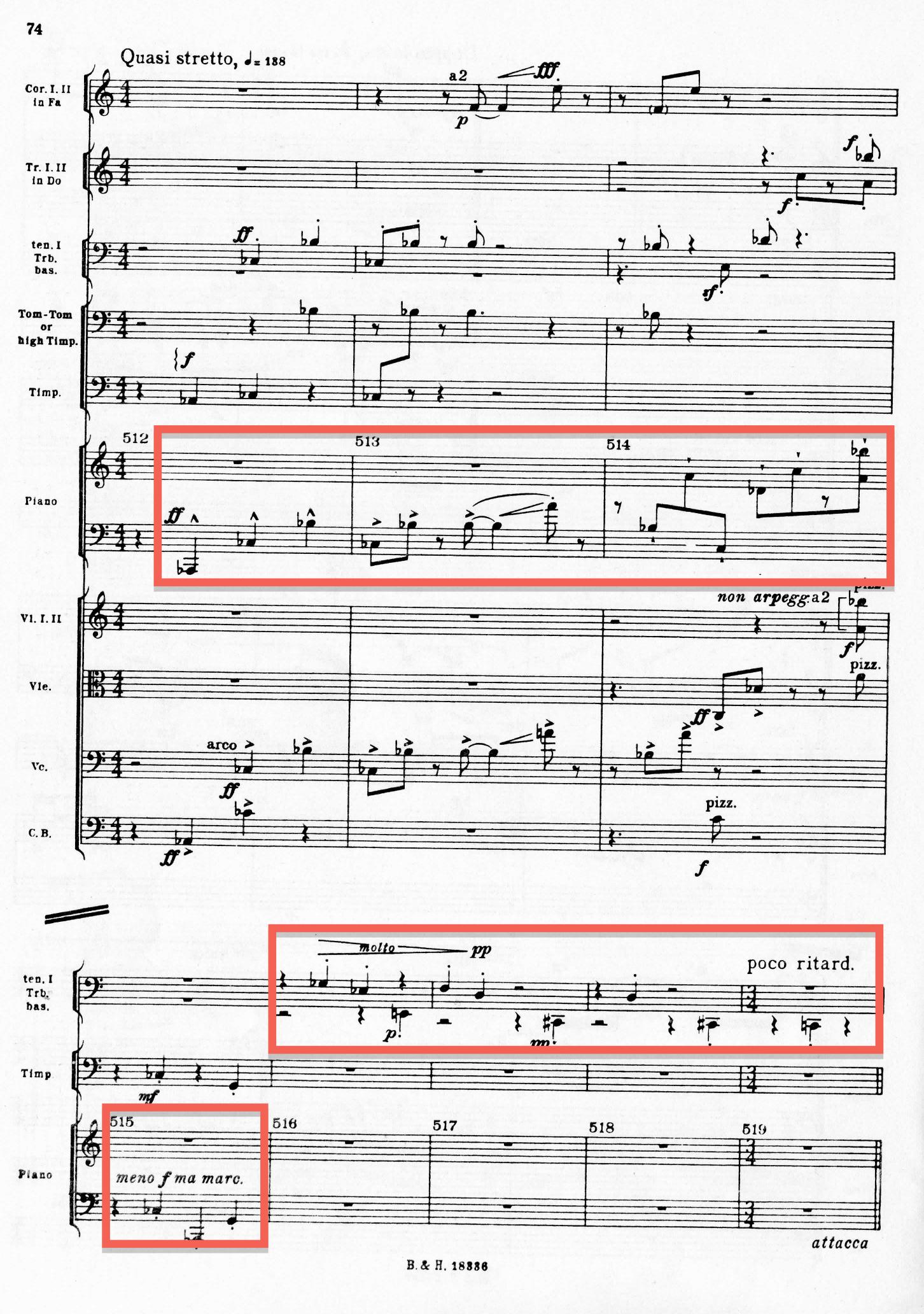 Exemple 11: partition de Agon Stravinsky, «Pas de 2», Stretto, mesures 512 à 519 (partie du piano).
